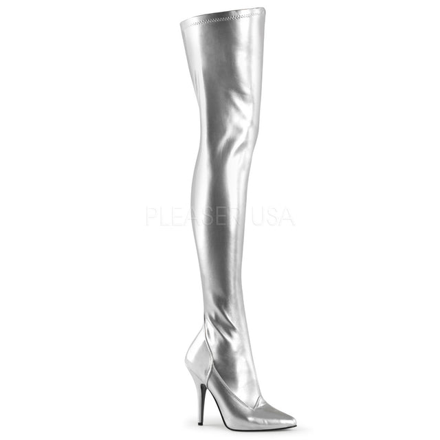 "Seduce 3000 Silver Matte  5"" Stiletto Heel Stretch OTK Thigh Boot 5-16"