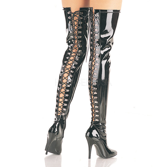 Seduce 3063 Back Lace Up Point Toe OTK Thigh Boot 6 -14