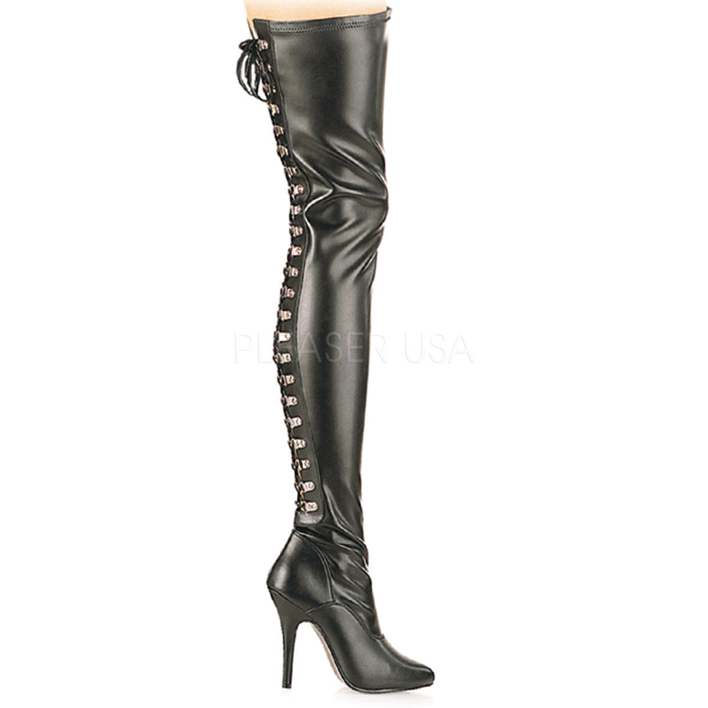 Seduce 3063 Back Lace Up Point Toe OTK Thigh Boot 6 -14 Black Matte