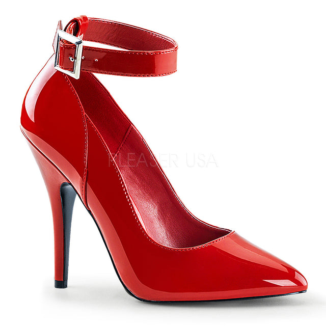 Seduce 431 Point Toe Single Sole Ankle Strap Pump 6 -16 Red Patent - Totally Wicked Footwear