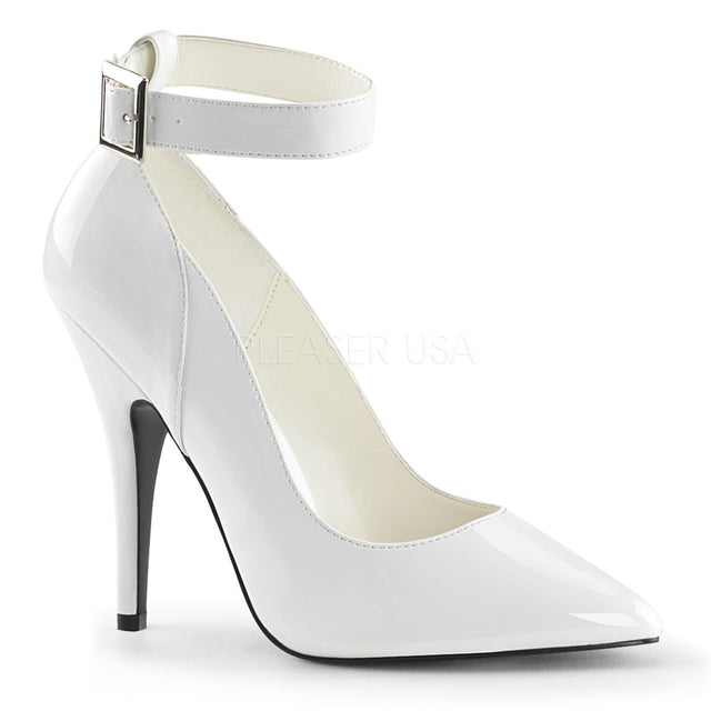 Seduce 431 Point Toe Single Sole Ankle Strap Pump 6 -16 White Patent - Totally Wicked Footwear