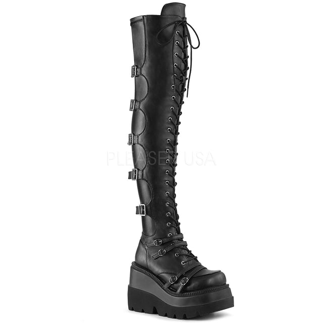 "Shaker 250 Goth Black Matte OTK Thigh Boot 4.5"" Wedge  6-12"