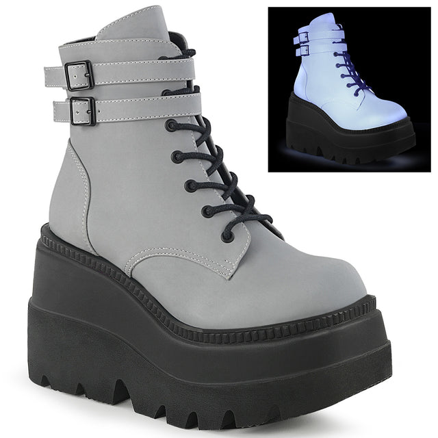 Shaker 52 Grey Reflective Platform Gothic Ankle Boot