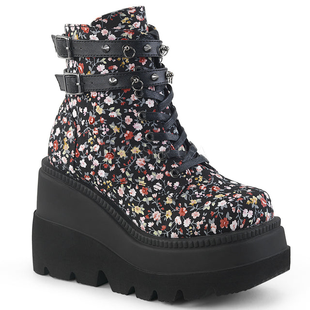 "Shaker 52ST  Black Floral 4.5"" Platform Wedge Gothic Ankle Boot"