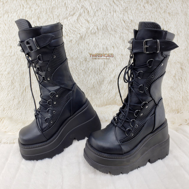 "Demonia Shaker 70 Black Platform 4.5"" Wedge Mid Calf Goth Punk Rave Boots NY - Totally Wicked Footwear"
