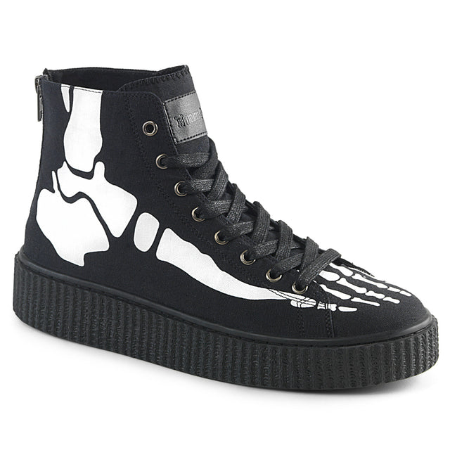 Sneeker 252 Black Canvas Skeleton Creeper Sneaker Men's US Sizes 4-13