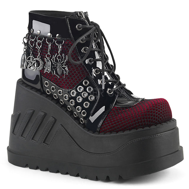 "Stomp 18 Black Burgundy  4.75"" Platform Wedge Ankle Boot - Charms"