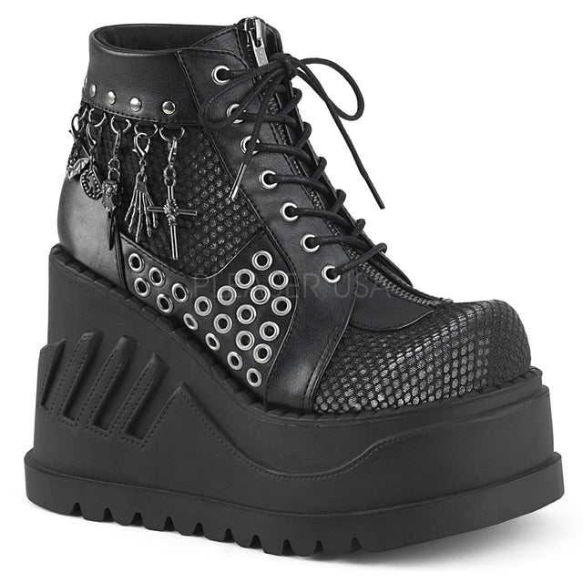 "Stomp 18 Black 4.75"" Platform Wedge Ankle Boot - Charms"