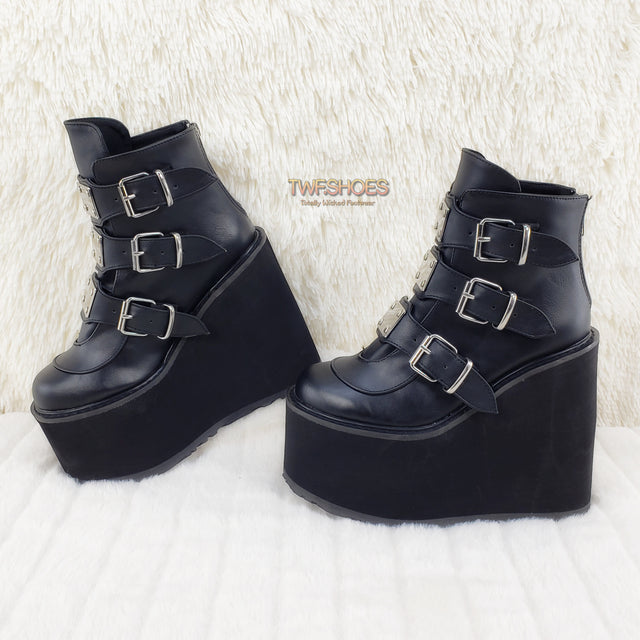 "Demonia Swing 105 Black Matte Multiple Buckle Ankle Boot 5.5"" Platform - Totally Wicked Footwear"