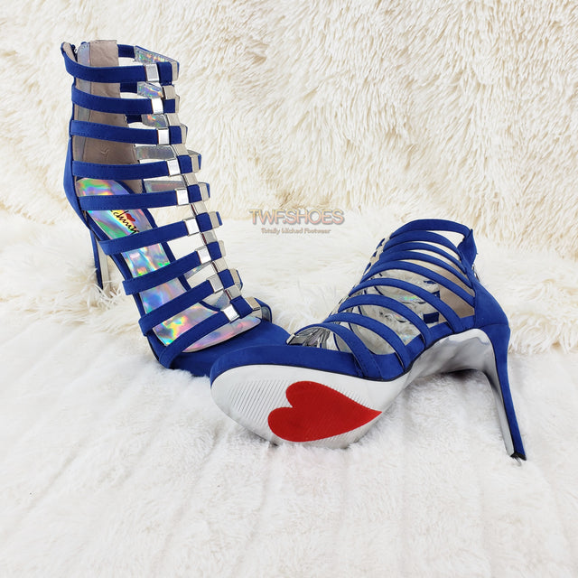 Take A Bow Bright Blue Strappy Mini Platform High Heel Shoes