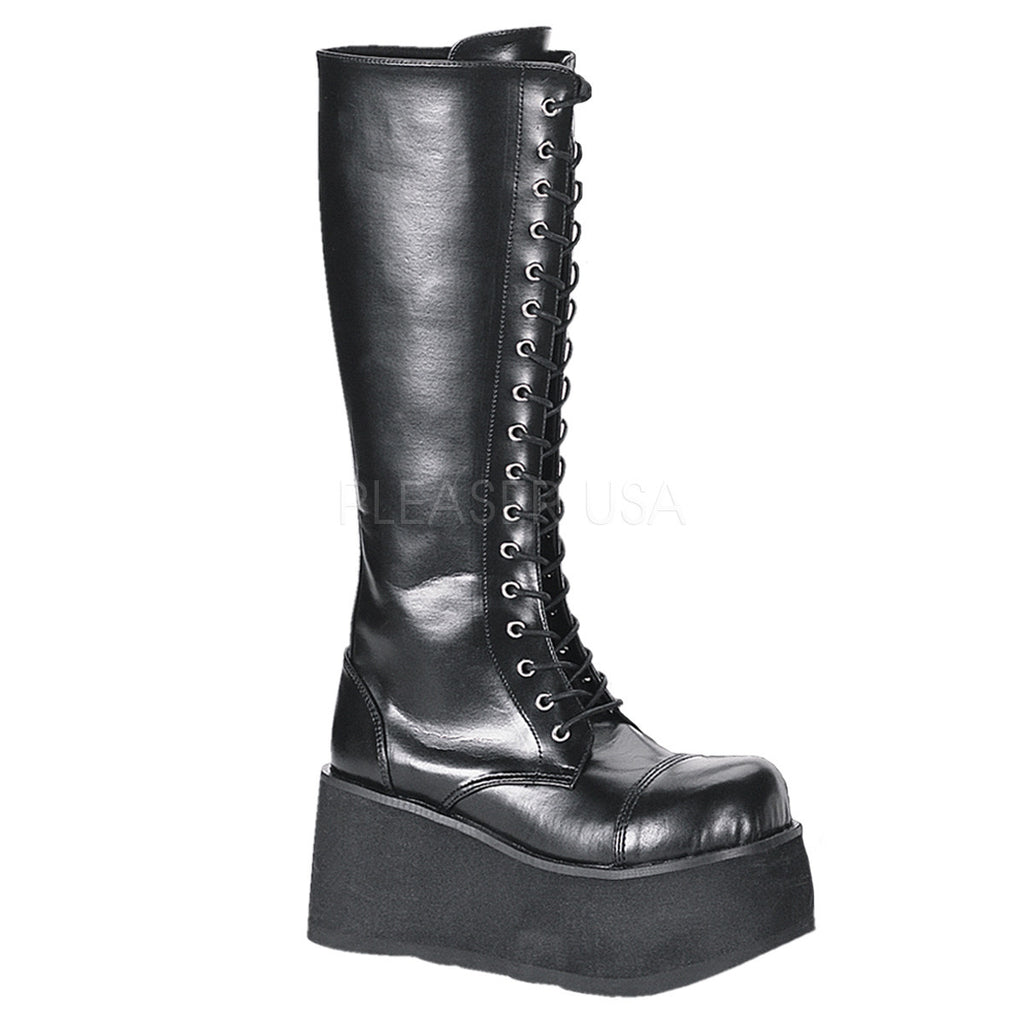 Trashville 502 Leatherette Upper Lace Up Gothic Style Platform Mid Knee Boot Men's Sizes Full Zipper