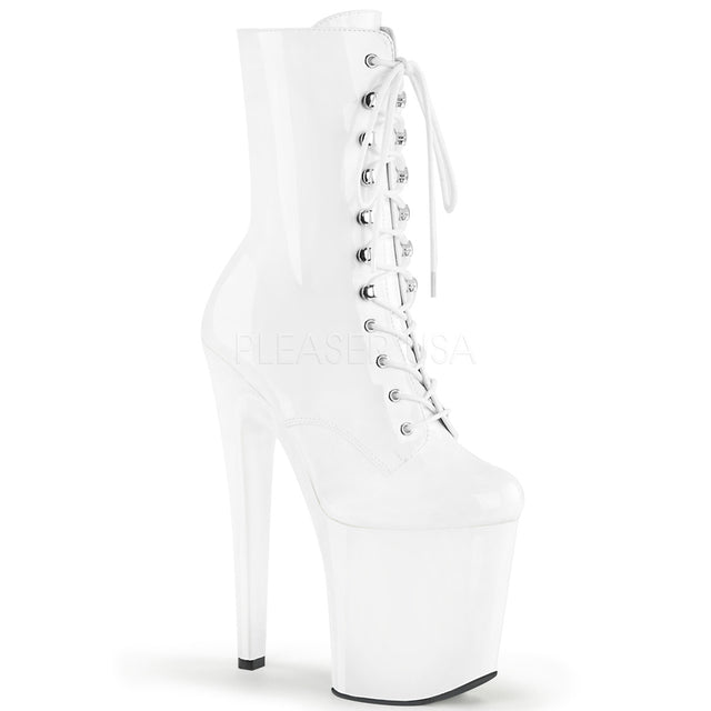 "Xtreme 1020 White Patent Lace Up Platform Ankle Boot 8"" High Heel"
