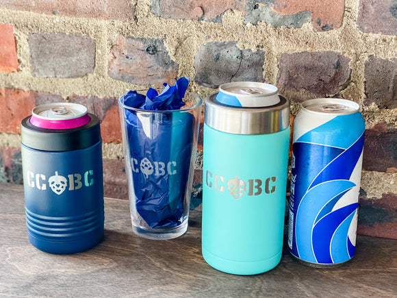 Stainless steel double walled personalized can coolers.  etched pint glass.