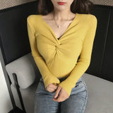 Women's V-neck Knitted Full Sleeve Criss-Cross Sweaters Pullovers Girls Knit Soft Jumpers Tops for Female 2019 Autumn FL623