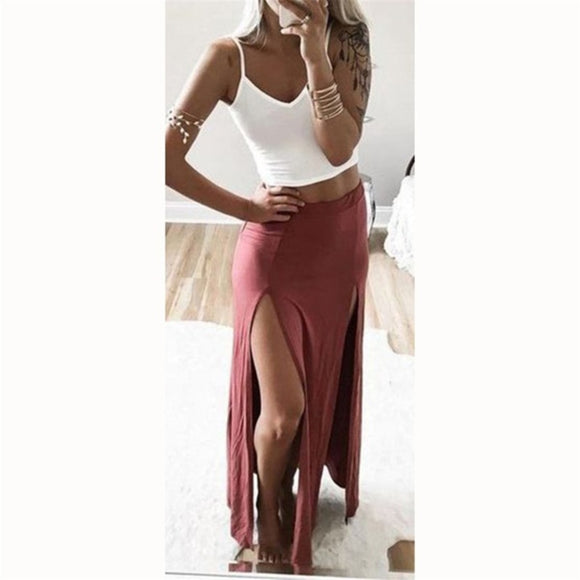 Women's Skirts Sexy Women High Split Skirt Summer Long Female Ankle Length Straight Skirt Saias