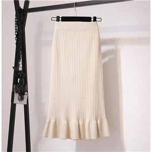 Knitted Mermaid Office Lady Women's Midi Skirt Black High Waist Solid Ruffle Party Womens Skirts 2020 spring Bottoms Female