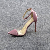 New Design High Heel Pointed Monochrome Belt Buckle Stylish Women'S Single Shoes Rose Red Pink Black Apricot Color Size 34 - 43