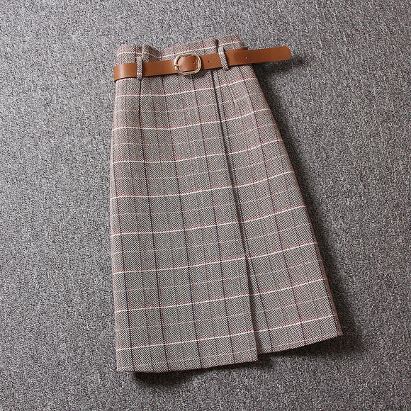 Autumn Women's Vintage A Line Sheath Skirt Female High Waist Slim Plaid Sashes Long Skirts Fashion Skirts For Women