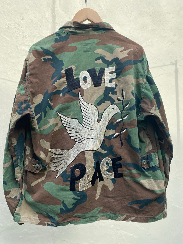 Love Peace Embroidered Army Jacket - Jetsetbohemian