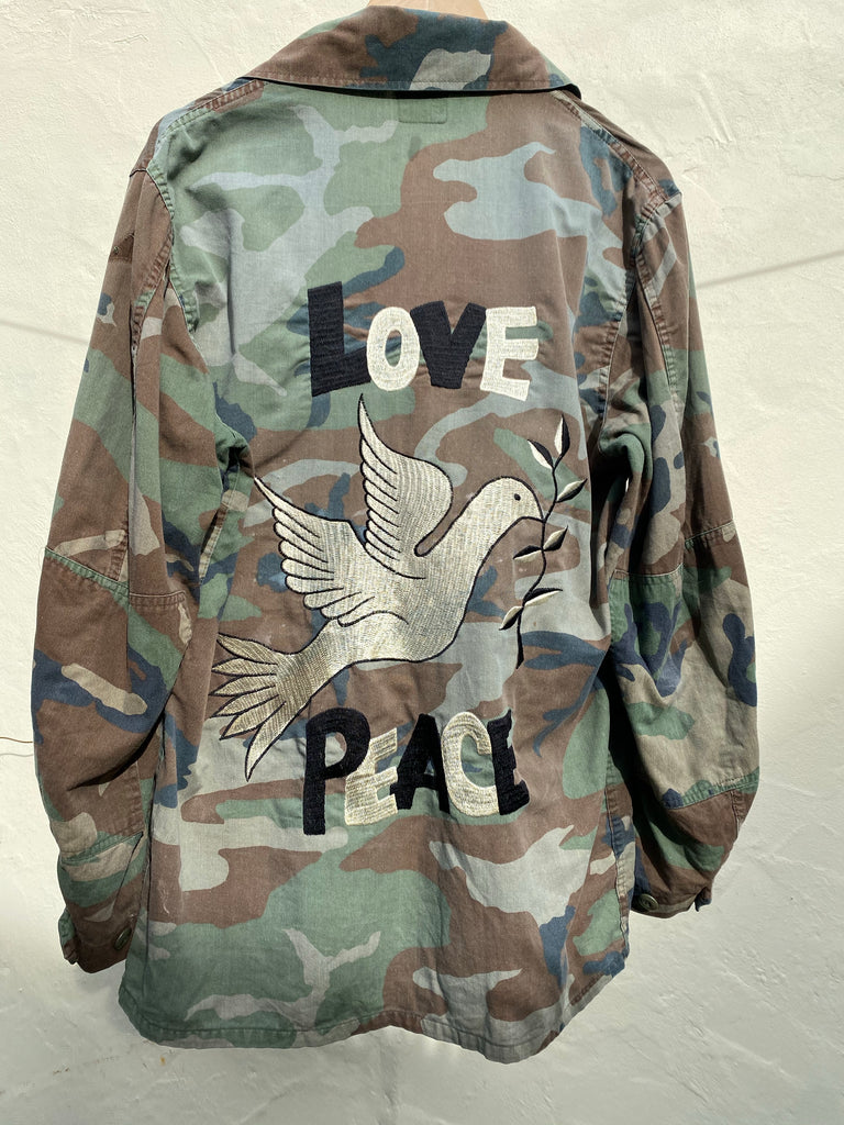 Peace Embroidered Army Jacket - Jetsetbohemian