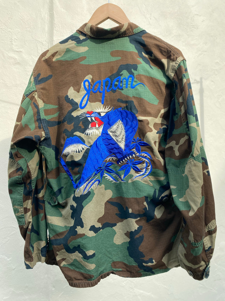 Blue Tiger Embroidered Army Jacket - Jetsetbohemian
