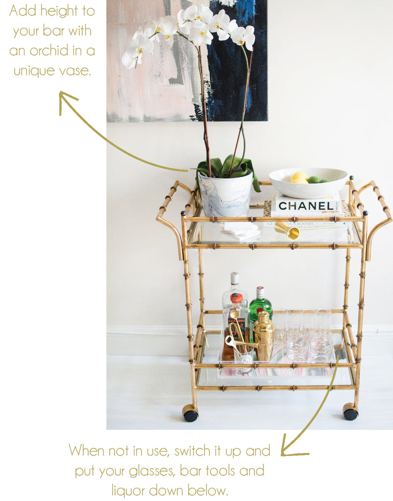 Mintwood Home Bamboo Trolley Bar Cart | Two