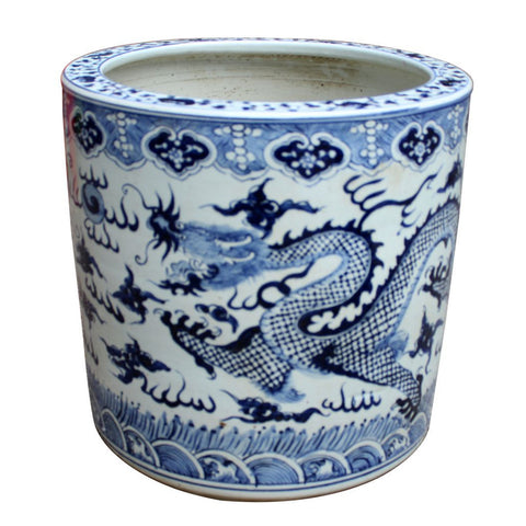 Blue & White Cloud Dragon Cylinder Planter