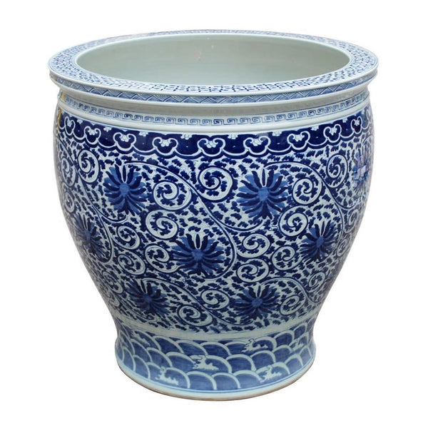 Blue & White Twisted Lotus Bowl Shape Planter