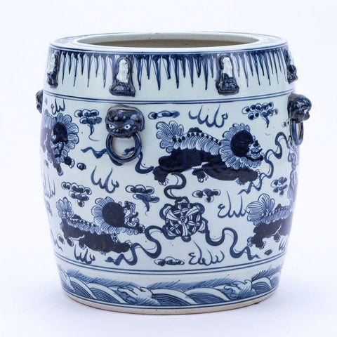 Blue & White Lion Drum Shape Planter