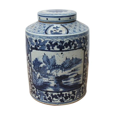 B&W Dynasty Tea Jar Floral Landscape Medallion