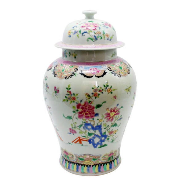 Chinoisery Floral Temple Jar