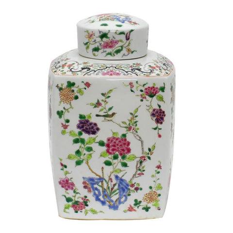 Chinoisery Floral Cylinder Tea Jar