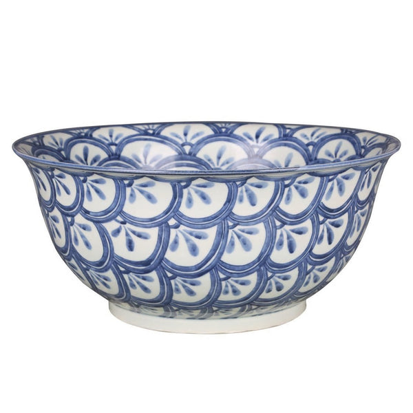 Blue & White Porcelain Sea Wave Motif Bowl