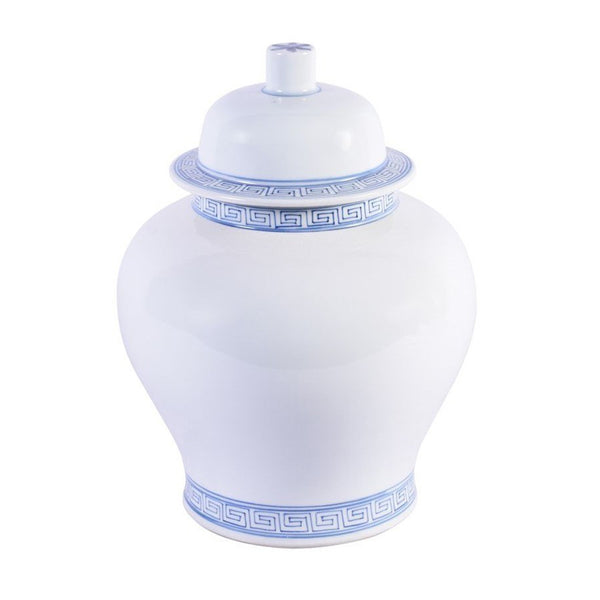 White Temple Jar With Blue Greek Key Trim