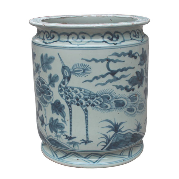 Blue and White Bird Motif Orchid Pot