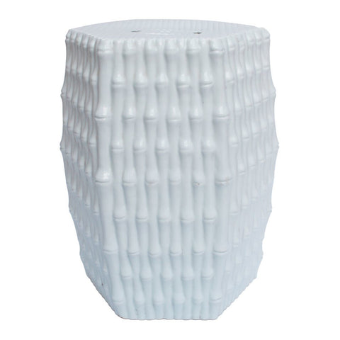 White Hex Porcelain Garden Stool Bamboo Carving