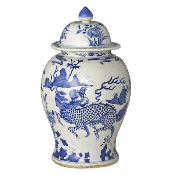 Blue & White Kylin Temple Jar