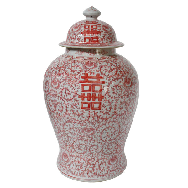 Red Double Happiness Floral Temple Jar