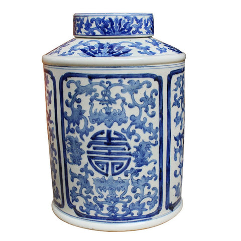 Blue & White Longevity Vine Round Medallion Tea Jar