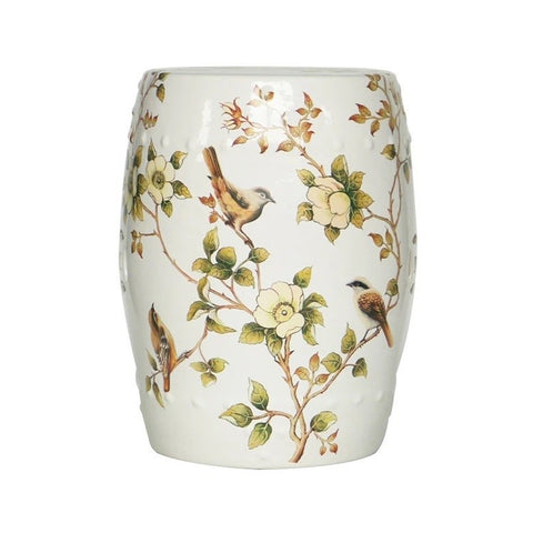 Cream White Garden Stool With Flower and Hwamei Birds