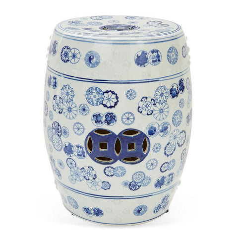 Blue & White Ball Flower Porcelain Garden Stool