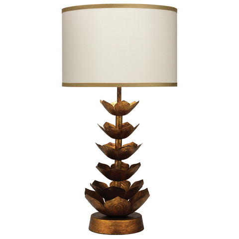 Flowering Lotus Table Lamp in Antique Gold