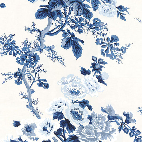 Pyne Hollyhock Indigo Wallpaper by Schumacher