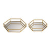 Mirrored Hexagonal Tray Set