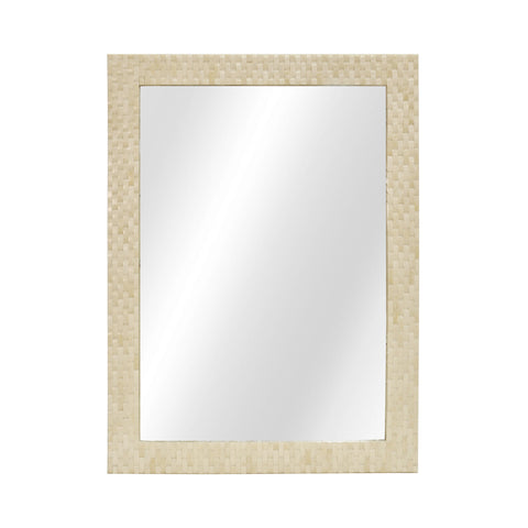Worlds Away Brooklyn Basket Weave Bone Rectangular Wall Mirror