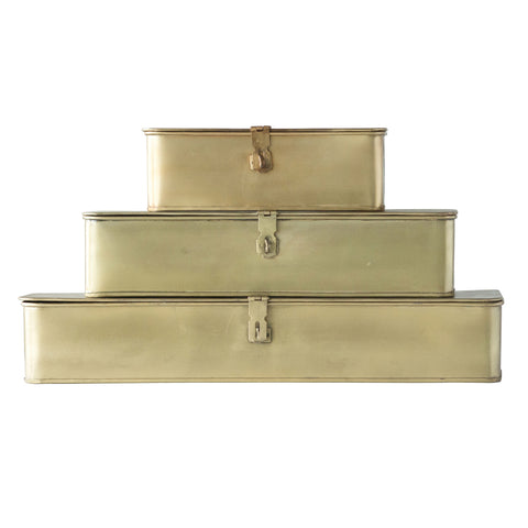 Decorative Metal Boxes with Gold Finish (set of 3)