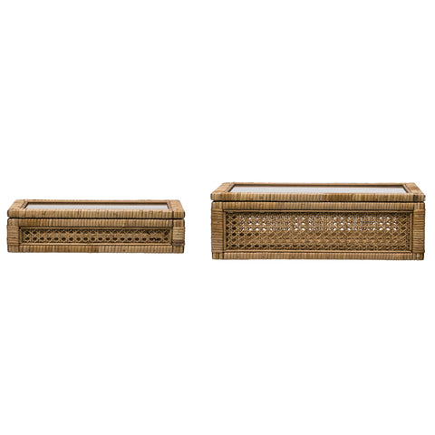 Woven Rattan Display Boxes with Glass Lids & Fir Wood Frame (Set of 2 Sizes)
