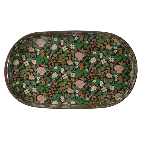 Decorative Metal Oval Tray with Floral Design & Cut-out Handles