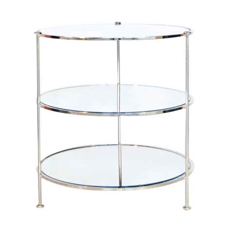 Worlds Away 3-Tier Nickel Plated Table with Mirrored Shelves
