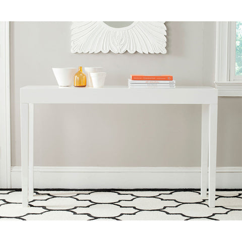 Kayson Lacquer Console Table in White